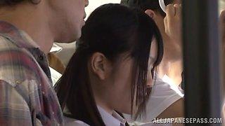 Hot Japanese Av model is a horny schoolgirl  in public