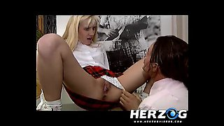 Hot retro schoolgirls are pleasured by the teacher