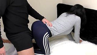 Brother Fucks Horny Teen Step Sister In Tight Yoga Pants - Pussy Creampie