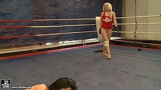 Karlie Simon and Liz Valery get naked during wrestling