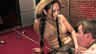 Asian Milf Makes Him Suck On Her Strap On