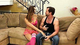 Busty babysitter cockrides cheating husband