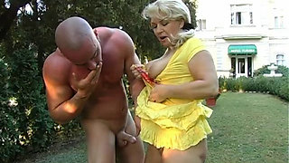 Hungarian Granny gets fucked outdoors