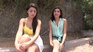Two latina teens visit gloryhole