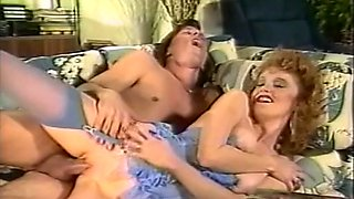 Redhead hot woman licked on the couch and fucked by young man