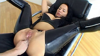Latex angel Angelica anal fucked