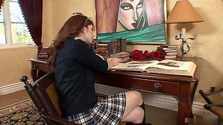 Pretty 18yearold redheaded cutie, Ashlyn Rae, wearing a conservative schoolgirls uniform, soon has