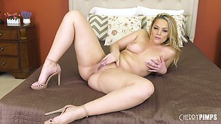 Alexis Texas takes off her pink bra and panties and touches herself