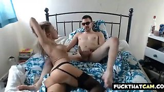 smoking hot ass blonde in black stockings fucked