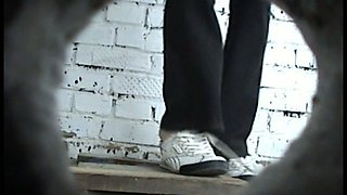 Slender white young chick in black panties filmed in the toilet room