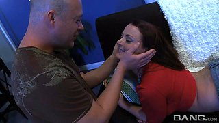 Bald guy wants to satisfy Sophie Dee by banging her tiny pussy