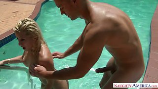 Delicious blond mommy Cristi Ann fucks with brutal pool guy