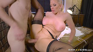 Nasty librarian MILF Rebecca More in classy stockings getting fucked