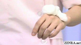 Subtitled medical CFNM handjob cumshot with Japan nurse