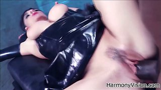 Sassy brunette bitch wearing latex get their twats banged well
