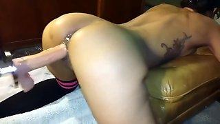 Slut wife getting destroyed by dildo machine