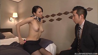 Flight attendant in his hotel room fucks him with lusty passion