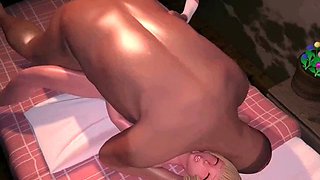 Blonde anime little cutie fucked by a big dick in bed