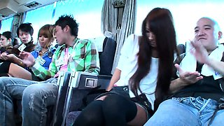 Kinky Japanese friends engage in wild group sex on the bus