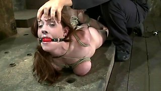 Dark-haired beauty hogtied, ballgagged and abused
