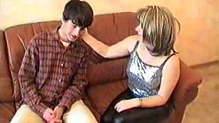Busty mom gets horny for a skinny friend of her son