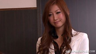 Japanese office girl Reira Aisaki gets amazingly fucked by her boss