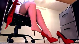 Sensual domination by a wild mistress in red lingerie