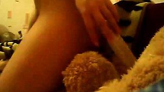 teen fucks teddy bear on webcam
