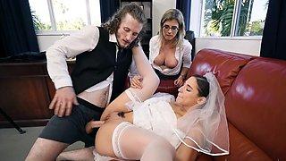 Wild threesome on the wedding day in insane scenes
