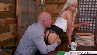 Blond secretary elsa jean gives her boss a fathers day fuck