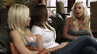 Chanel Preston and Riley Steele in a hardcore ffm fuck threesome
