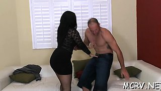 Naughty and curvy hottie enjoys sex with her mighty dude