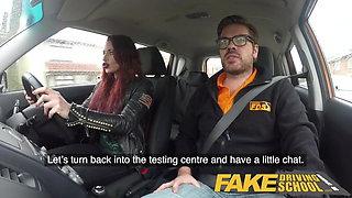 Fake Driving School Crazy hot redhead fucks car gearstick af
