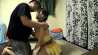 Pigtailed Asian teen in uniform gives a fabulous blowjob