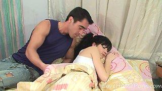 Sleeping teen gets woken up by her man