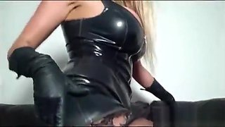 hot busty Lucy Zara latex mistress tight wet pussy as she wanks with toy